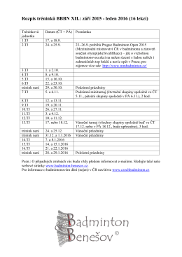 Rozpis tréninků BBBN XII