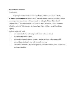Závěr odborné publikace Nejčastější umístění závěru v struktuře