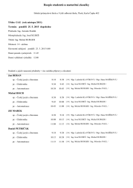 Rozpis studentů u maturitní zkoušky