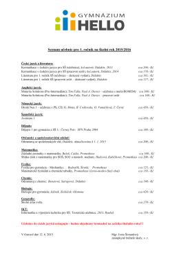Seznam učebnic na školní rok 2015/2016 pro 1. ročník ke stažení