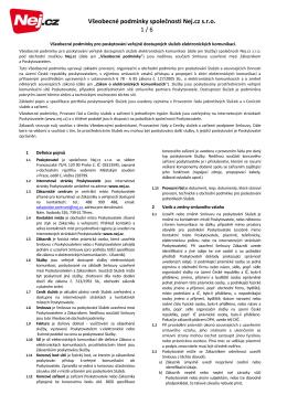 Všeobecné obchodní podmínky platné od 1. 12. 2015