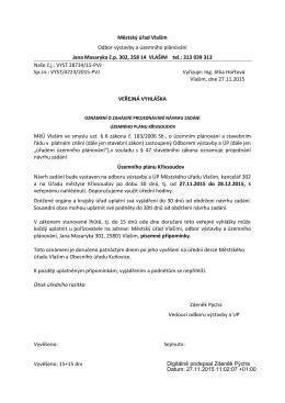Městský úřad Vlašim Odbor výstavby a územního