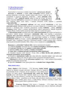VI. Hlavní literární směry A. Renesanční literatura