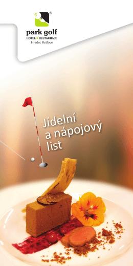 Jídelní a nápojový list - Park Golf Club Hradec Králové