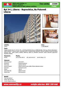 Byt 3+1, Liberec - Ruprechtice, Na Pískovně Liberec