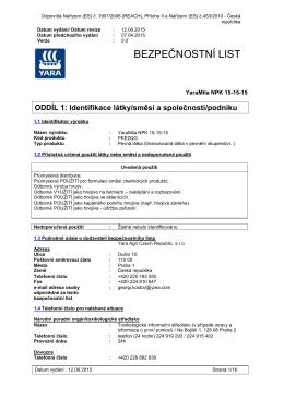 BEZPEČNOSTNÍ LIST - YARA Agri Czech Republic sro