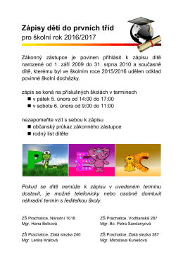 Zápisy dětí do prvních tříd - Základní škola Prachatice, Zlatá stezka