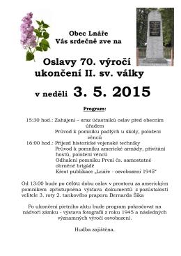 Obec Lnáře Vás srdečně zve na Oslavy 70. výročí