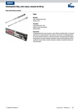 Datový list K0541 Teleskopické lišty, extra výsuv, nosnost do 60 kg