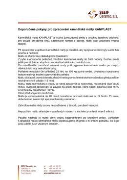 Doporučené pokyny pro zpracování kamnářské malty KAMPLAST