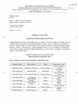 Monitorovací kalendář pro koupací sezónu 2015