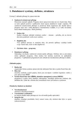 1. Databázové systémy, definice, struktura