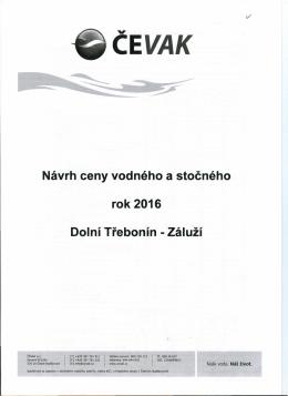 Návrh ceny vodného a stočného rok 2016 Dolní Třebonín