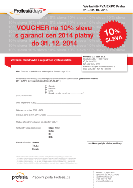 VOUCHER na 10% slevu s garancí cen 2014 platný