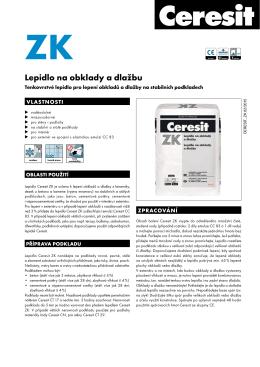 Technický list – Ceresit ZK Lepidlo 20 kg