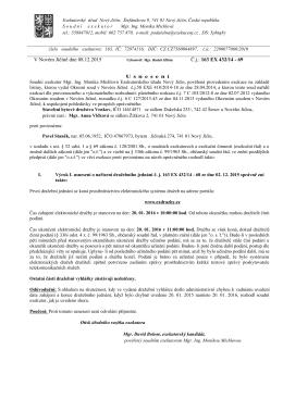 V Novém Jičíně dne 08.12.2015 Č.j.: 163 EX 432/14 - 69