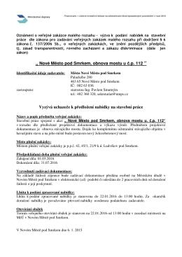 """"""" Nové M sto pod Smrkem, obnova mostu u .p. 112 """" Vyzývá uchaze"""