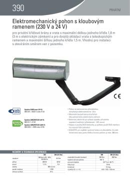 Elektromechanický pohon s kloubovým ramenem (230 V a