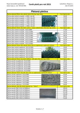 Ceník plotů pro rok 2015