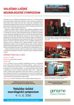 Valašsko-lašské neurologické sympozium 4.–5. 11. 2016
