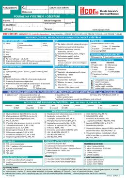 Zadanka o mikrobiologicka a imunologicka vysetreni - IFCOR
