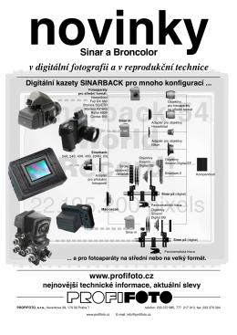 v digitální fotografii a v reprodukční technice Sinar a Broncolor
