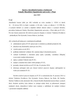 Zpráva AK o hodnocení FF ZU v Plzni
