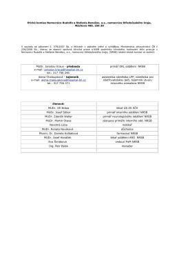 Příklad tabulky a informací - Nemocnice Rudolfa a Stefanie Benešov