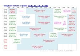 program bazénu v týdnu od 12.10.