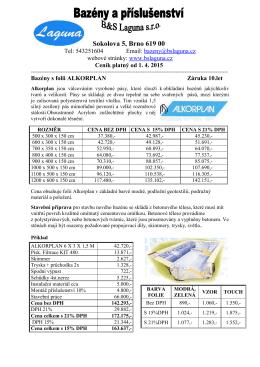 Ceník bazénů a příslušenství zde