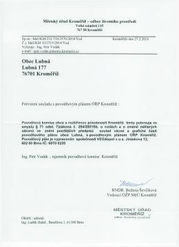 Potvrzení souladu MěÚ Kroměříž
