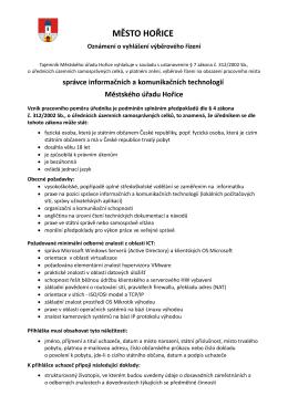 Výběrové řízení na Správce informačních a komunikačních technologií