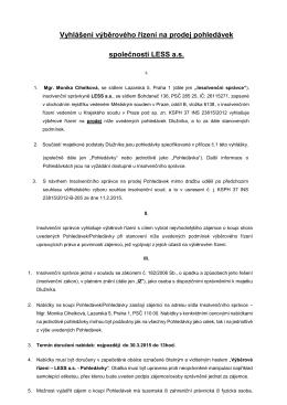 Vyhlášení výběrového řízení na prodej pohledávek společnosti