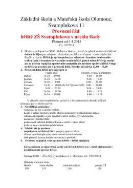 hřiště ZŠ - Základní a mateřská škola Svatoplukova