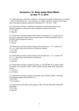 Usnesení z 12. Rady města Staré Město ze dne 11. 5. 2015