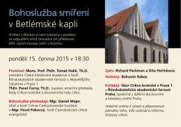 Plakát - Bohoslužba smíření v Betlémské kapli