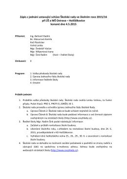 Zápis z jednání ustavující schůze Školské rady ve