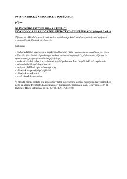 Volná místa - psycholog - Psychiatrická nemocnice v Dobřanech
