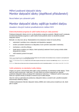 Monitor dialyzační dávky (doplňkové příslušenství) Monitor