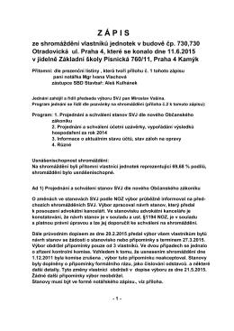 Zápis ze shromáždění 11.6.2015 - Společenství vlastníků jednotek v