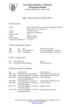 Mgr. Andrea Preissová Krejčí, Ph.D.