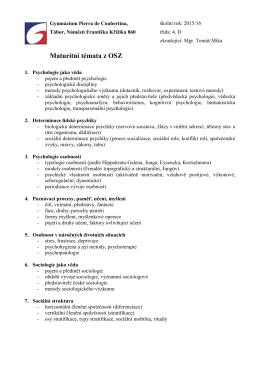 Maturitní témata z OSZ - Gymnázium Pierra de Coubertina Tábor