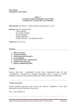 Zápis ze zasedání zastupitelstva obce Seletice, dne