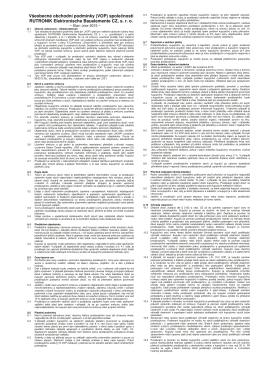Všeobecné obchodní podmínky (VOP) společnosti RUTRONIK