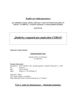 Dodávky reagencií pro analyzátor COBAS