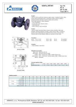Ventil zpětný - Typ Z16 (PN16)