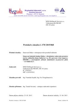 Protokol o zkoušc Protokol o zkoušce č. FM 2015/060