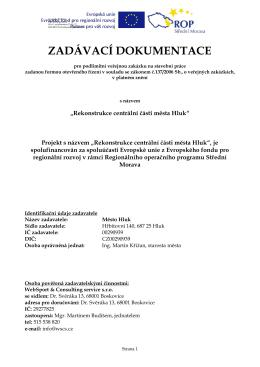 Zadávací dokumentace vydaná v souladu s Pravidly pro výběr doda