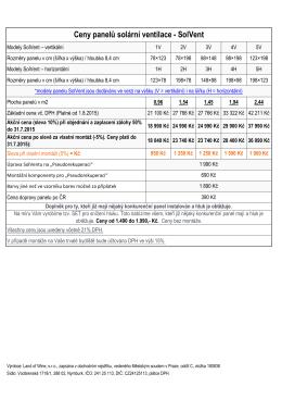 Ceny panelů solární ventilace