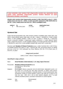 Závod Mondelez Opava-Vávrovice - Informační systém životního